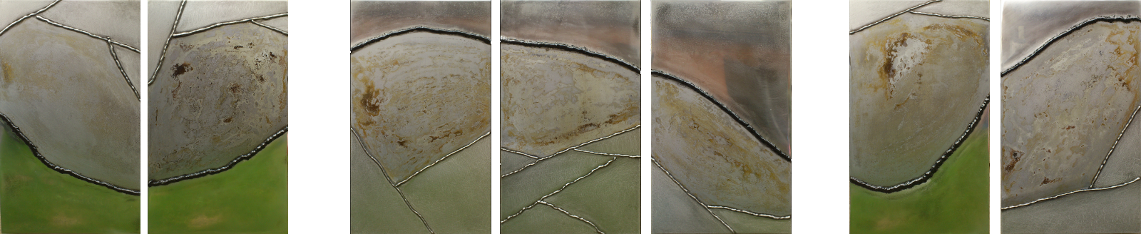 Drieluik in zeven delen | metaal | 29*190 | 2013