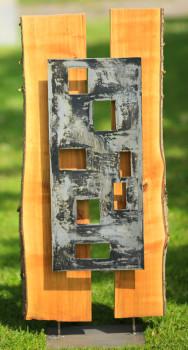 geen titel | metaal en hout (iep) | 117*50*12 | 2011
